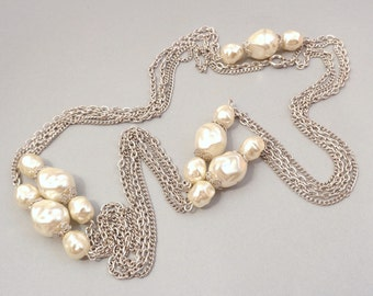 SALE Imitation Pearl Flapper Necklace - Silver Tone Chains - Baroque Pearl Beads