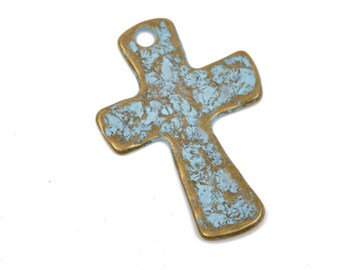 """4 Hammered Bronze Cross Pendant Charms, with blue verdigris patina, large 1-3/4"""" long, chb0451"""