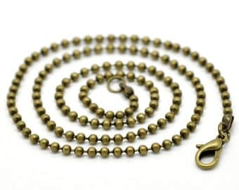 """12 Bronze BALL CHAIN Necklaces, lobster clasp, 30"""" long, 2.4mm, FCH0389"""