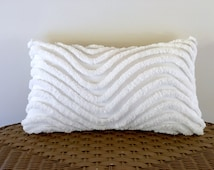 WHITE WAVES 12 x 20 chenille pillow cover, nautical cushion, neutral pillow sham, cottage chic cushion, shabby style porch pillow cover