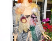 cardigan jumper dreamy romantic gypsy queen tattered tie diy handmade knitted boho sweater gift idea for her women clothing by goldenyarn