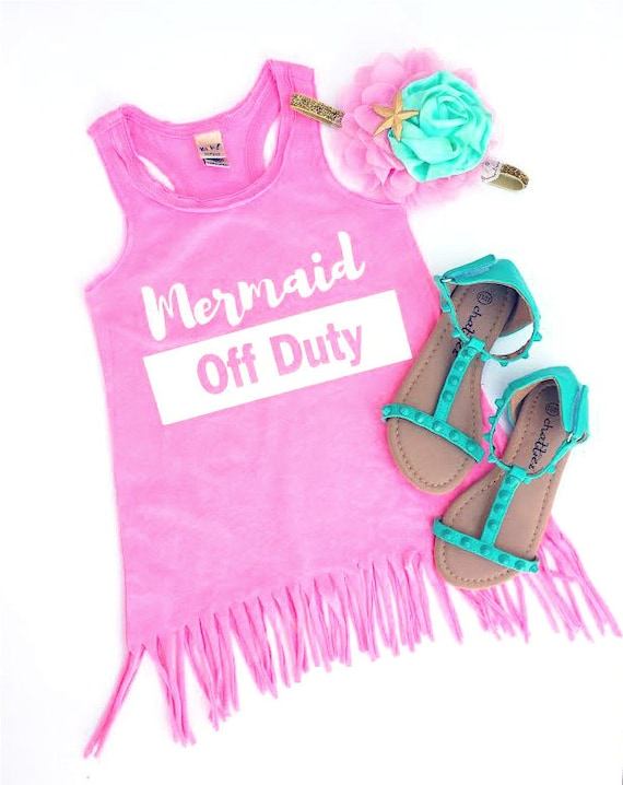 MERMAID OFF DUTY Fringe Tank Dress- baby, toddler, child, girl, fashion, bohemian trendy, little mermaid, disney, disneyland, wdw