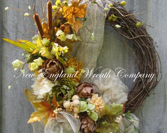 Fall Wreath, Autumn Wreaths, Fall Designer Wreath, Elegant Fall Wreath, Fall Floral Wreath, Fall Door Wreath, Thanksgiving Wreath