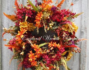 Fall Wreath, Autumn Wreaths, Thanksgiving Wreath, Harvest Wreath, Fall Floral Wreath, Fall Luxury Wreath, Elegant Fall, XL Designer Wreath