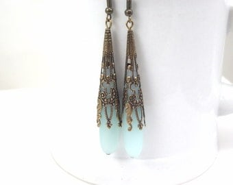 Amazonite sea glass ear rings beach glass jewelry  earrings-bridesmaid earrings- teardrop  antique bronze extra long earrings