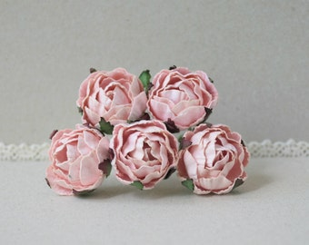 30  mm   / 5    Pink Paper  Rose Buds