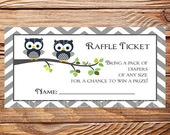 Owls Diaper Raffle, Raffle Ticket, Owls Raffle Ticket, purple, As is instant download - 1PDF 8.5x11, 1607