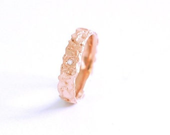 Red gold ring-red gold certified fairmined with pure mined australian diamond-white diamond-promise ring- green wedding-fairtrade jewelry