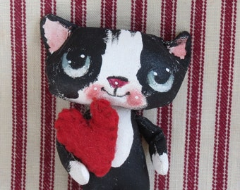 Tuxedo kitten ,black and white cat ,  Hand painted  , hand made  , cloth doll , Blythe cat , Blythe accessory .