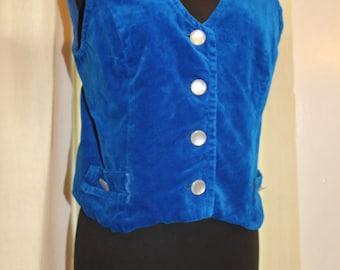 1960's blue velvet vest, size small