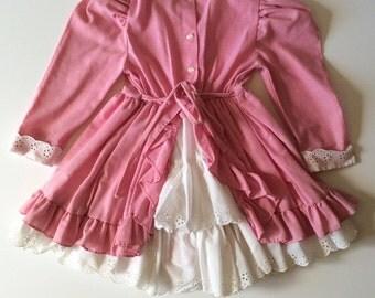 1980's Pink & Eyelet Lace Ruffle Dress (4t)