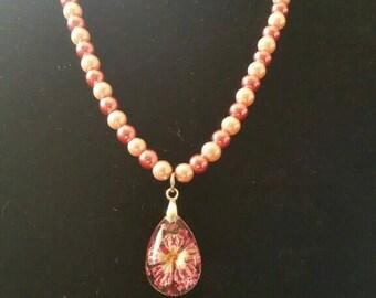Blown glass flower necklace