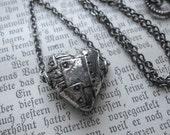 Steampunk Valentine. Patchwork Heart Pewter Pendant. Feral Valentine.