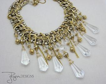 Statement Rhinestone Necklace - Statement Assemblage Necklace - Vintage Crystal Necklace - Statement Bib Necklace