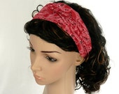 Red Bandana Headband BoHo Hippie Head Wrap July 4th Country Western Rodeo Red Paisley Headband / Custom Size Available