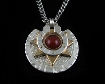 Handmade Silver and Brass Carnelian Medallion