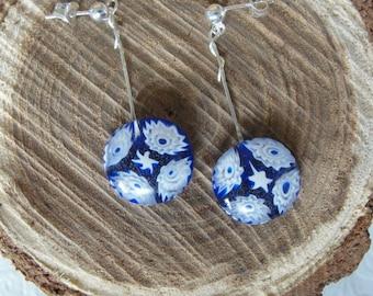 Italian millefiori sterling silver dangle earrings in cobalt blue