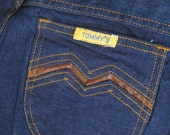 on sale Vintage Jeans, High waisted Jeans, Deadstock 70s, 1970s Clothes, Tommy's Jeans, Tight Jeans, Long Legged, Extra Long, Hippie Jeans,