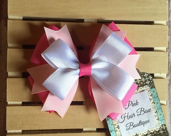 Hair bow - White and pink hair bow - hair bows for girls - pink girls hair bow - 4 inch hair bow