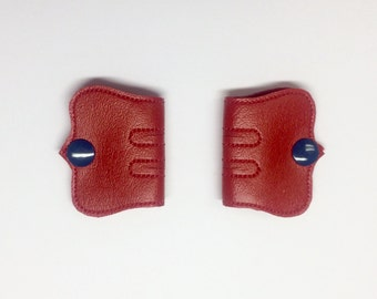 Cord Keeper, Iphone cord, Ear bud cord, Cord organizer, Blue snaps, Red Vinyl cord keeper, Snap cord keeper, Cable organizers