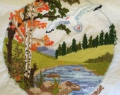 Vintage Crewel Nature Scene w/ Snow Goose Pillow Cover