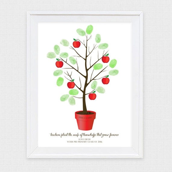 Teacher appreciation fingerprint apple tree printable by for Apple tree classroom decoration