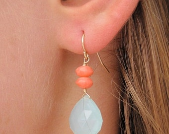 Aqua Chalcedony Briolette Earrings with Coral Accents
