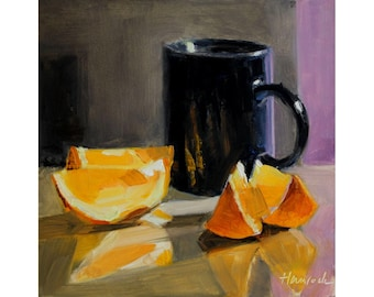 Black Cup Orange Slices and Magenta Wall