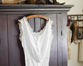 Antique White Cotton Camisole Slip, Undergarments, Victorian, Edwardian Lacy White Clothing
