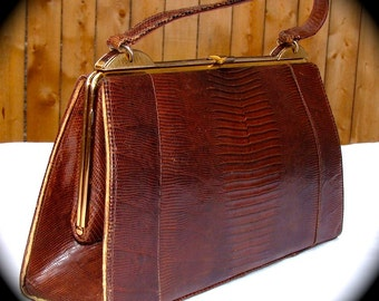 Vintage Snakeskin Purse 1950s Mid Century Handbag Brown Reptile Mad Men Era Purse Cobra
