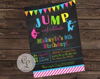 Jump Party Invite, Trampoline Park Invite, Bouncy House Invite
