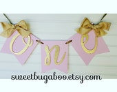 """Pink and Gold """"One"""" Highchair Banner"""
