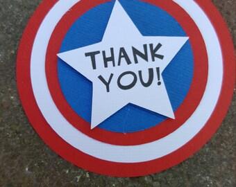 Captin America favor tags, Avenger birthday