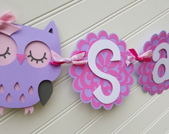 Owl Baby Shower Banner, It's A Girl banner, Baby Banner, Baby Shower Decorations, Pink and Purple banner