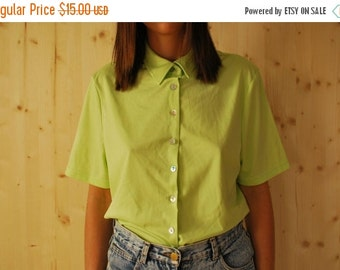SALE Vintage 90's Neon Green Collared shirt