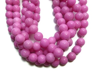 Pink Mountain Jade - 10mm Round Bead - Full Strand - 41 beads - Magenta Bubble Gum Rose