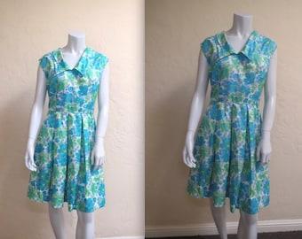 Adorable Vintage Early 60s Blue & Green Floral Springtime Day Dress L XL