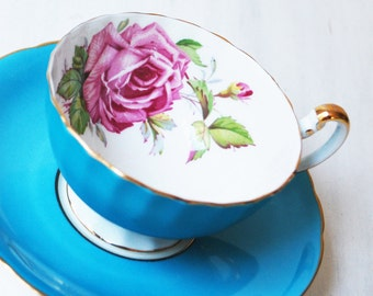 Aynsley Teacup and Saucer / Turquoise Blue with Pink Rose / Vintage Tea Cup
