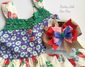 """Large Bow made to match Matilda Jane Strawberry Crumble dress -- 6"""" layered bow in burlap, red, pink, cornflower blue and green"""