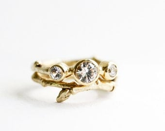 14K Yellow Gold Engagement rings, 3 White Sapphire Twig Rings