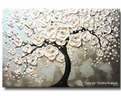 ORIGINAL Art Abstract Painting White Cherry Tree Acrylic Painting Large Art Wall Decor Textured Flowers Palette Knife Blue Grey- Christine