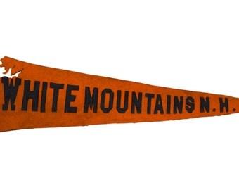 Antique White Mountains NH Felt Flag Banner