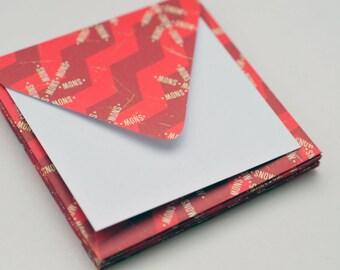 SALE-Red Snowflake Mini Cards, Set of 6, Blank Cards, Enclosure Cards, Gift Cards, Keepsake Envelope, Favor Card