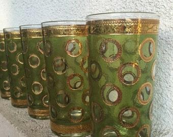 Mid Century Modern Barware Gold & Green High Ball Set of 8 UNUSED