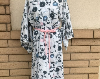 Long Japanese Kimono Robe with Dandelion Print