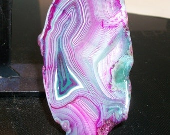 "Colorful Agate slab pendant or focal bead- approximately 100 x 50mm-(3 3/4"" x 2"") -3138-1 piece"
