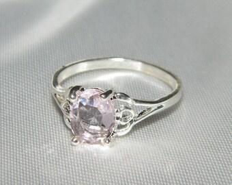 Signed 925 Sterling Silver Pink Gemstone Ring