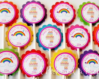 Rainbow Chevron Birthday or Baby Shower Cupcake Toppers