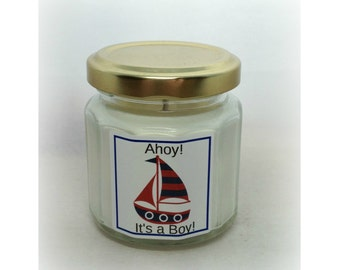 RESERVED for Nicole:  48 Ahoy!  It's a Boy! Baby Shower Favor Candle, Baby Shower Favor, Nautical Theme