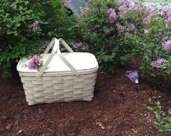 Whitewashed Roomy Picnic Basket is a Chic Storage Solution After Summer is Gone
